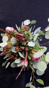 Boho Feathers & Protea Bride's Bouquet