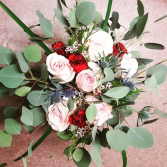 Boho style Blush and Navy Wedding Bouquet, Hand tied