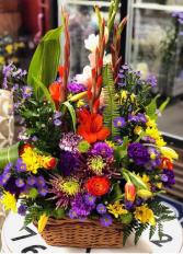 Bold and Beautiful Basket arrangement