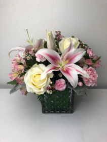 Bold and Beautiful is your Love Large Cube Lily and Roses
