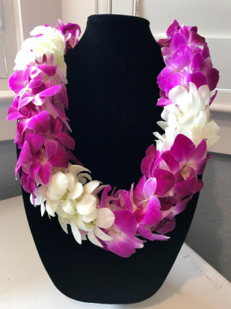 BOMBAY AND WHITE DOUBLE ORCHID LEI GRADUATION LEI