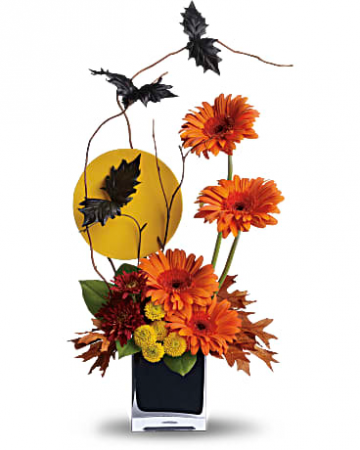 boo-tifulbats loveing fall  cube black vase  with fall colors