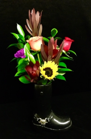 Born To Be Wild Motorcycle Boot Floral Design in Plainview, TX | Kan Del's Floral, Candles & Gifts