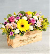 Botanical Bounty, in Lavender, Pink and Yellow In A Keepsake Rectangular Box