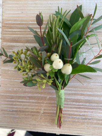 Botanical Greens with Berries Boutonniere