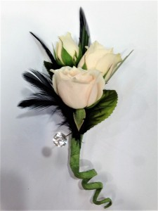 Boujee Black & Champagne Bout Boutonniere in Greensboro, NC | BLOSSOMS & SWEET BLOSSOMS