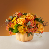 Bountiful and Bright Pumpkin Arrangement