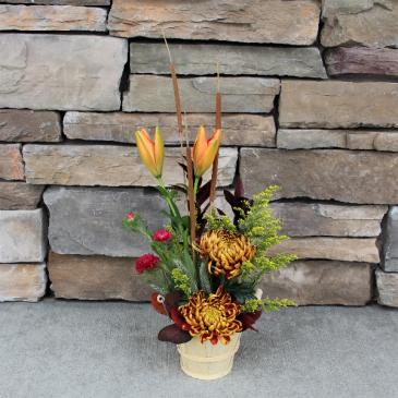 Bountiful Basket Fall Flower Arrangement