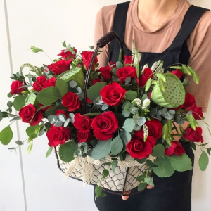 Bountiful Basket of Roses   in Oakville, ON | ANN'S FLOWER BOUTIQUE-Wedding & Event Florist