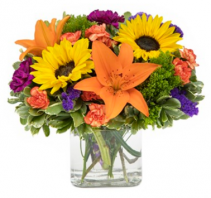 Bountiful Blooms Cube Arrangement