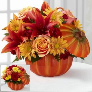 Bountiful Bouquet  Ceramic Pumpkin with Fresh Flowers