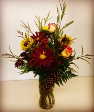 Bountiful! Fall Mix with Roses.  Accented with Pine Cones. in Plainview, TX | Kan Del's Floral, Candles & Gifts