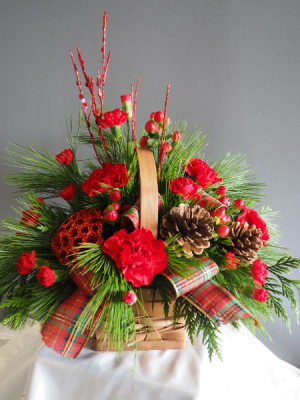 Bountiful Holiday Basket Flower Arrangement in Barrie, ON | FLOWERS AND PINEWORLD