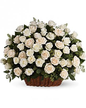 Bountiful rose basket table arrangement
