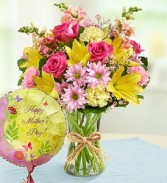 Bouquet and Balloon For Mom  Vased Arrangement