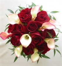 Bouquet for Bride with Small Calas and Red Roses can be downsized for your girls....Pricing vary in size of the bouquet