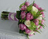 Bouquet of Green Viburnum, Lavendar Double Tulips and Vendella Roses