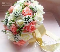 Bouquet of White and Peach Roses For both a Bride and can be made smaller for your girls..prices vary due to size.