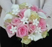 Bouquet with Pale Yellow and Light Pink Roses with Mini Callas and Stephanotis