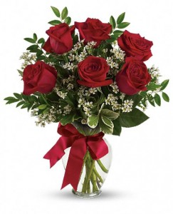 Bouquet with Red Roses Half Dz Roses Only at Mom & Pop Flower Shop