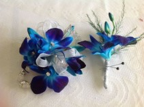 Boutiner and Wrist Corsage Combo This Combo  In Dandrobium Orchids Only..You Can Choose , White , Pink , Or Blue