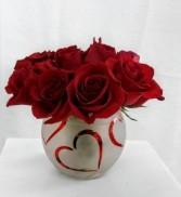 Bowl of Hearts Rose arrangement