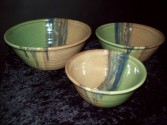 "Bowl Set of Three ""Misty Green"" Pottery"