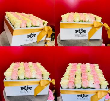 Box of 2 Tone Roses 30x30 Box of Roses