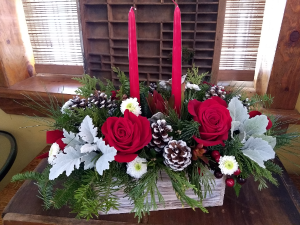 Box of Christmas Cheer arrangement in Pawling, NY | PARRINO'S FLORIST