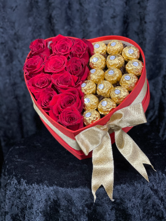 Box of Love Heart box with 1 dozen roses and chocolates