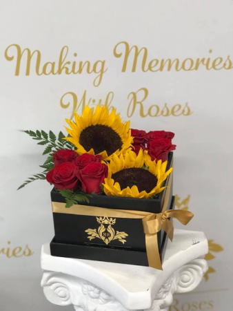 Box of Roses & Sunflowers 20x20 Box of Roses and Sunflowers