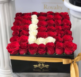 Box of Roses with Letter Initial 30x30 Box of Roses