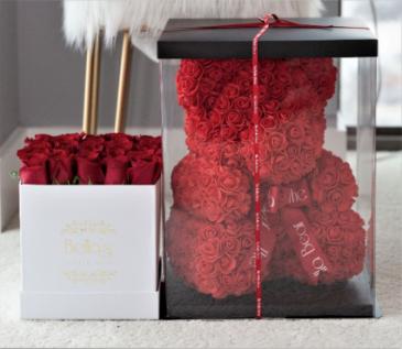 Box Roses & Teddy Rose Bear