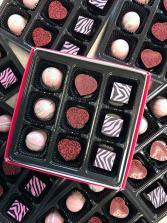 Boxed Chocolate Wild Rose Honey Hearts 4 pc Maine Made Chocolates