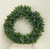 boxwood and lavender silk wreath