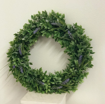 boxwood and lavender silk wreath