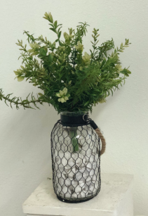 boxwood and rosemary in chicken wire vase Silk Arrangement