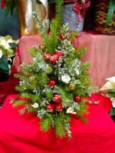 Boxwood, Pine Bough and Presents Fresh Tree Arrangement