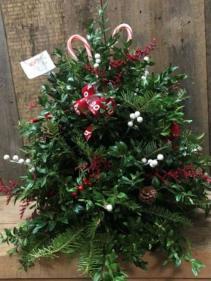 Boxwood Tree Christmas Arrangement