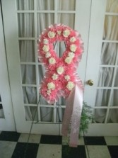 Breast Cancer Awareness Ribbon Floral Arrangement