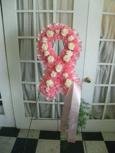 Breast cancer awareness ribbon floral arrangement in westwego la breast cancer awareness ribbon floral arrangement mightylinksfo