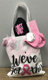 Breast Cancer Awareness Tote Bag full of Think Pink Gifts in Spring, Texas | TOWNE FLOWERS