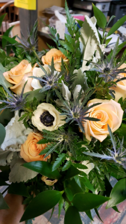 Bridal Bouquet Anemone, thistle and Roses