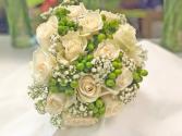 BRIDAL BOUQUET-CREAM W GREEN Wedding-Bridal