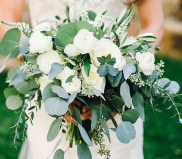 Bridal Bouquet in Whites with Eucalyptus  Wedding