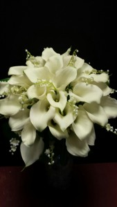 Bridal Bouquet  stunning white Calla lilys and lily of the valley