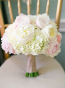 Bridal Bouquet  White hydrangea's anf blush and white peony