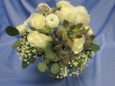 Bridal Bouquet, White Roses and Succulents Bridal Bouquet