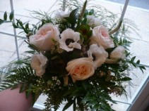 Bride Bouquet -Natural Stems Garden Roses, Anemone, Lush Foliage