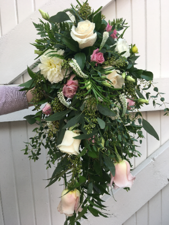 JOANNE'S  BOUQUET Cascade style with luscious  greenery